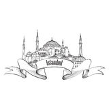 Istanbul famous building label. Travel Turey symbol. Hand drawn landmark Hagia S Stock Photography