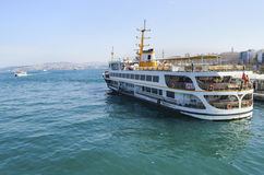 Istanbul Ferries, Eminonu waiting in the harbor Stock Photography