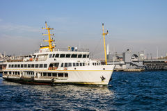 Istanbul ferry in front of Galata bridge Stock Photography