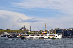 Istanbul Ferry and Hagia Sophia Museum Stock Photo