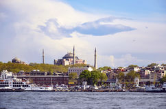 Istanbul Ferry and Hagia Sophia Museum royalty free stock photos