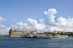 Istanbul ferry and Haydarpasa railway station Royalty Free Stock Photo
