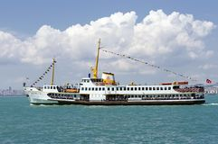 Istanbul - Ferry passing Royalty Free Stock Images