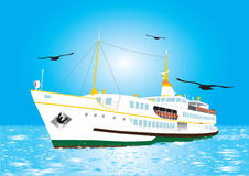 Istanbul Ferry vector illustration in the istanbul. Bosphorus with seagulls Royalty Free Stock Photos