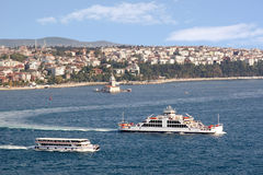 Istanbul ferryboats. And Leanders Tower seen from above Royalty Free Stock Image