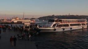 Istanbul /galata bridge/crowd/people/december 2015. Istanbul /steamboat/december 2015 HD 1080 stock footage