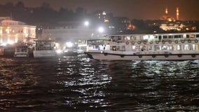 Istanbul. the Galata Bridge. night. October 17, 2017. Turkish, evening, galata, landmark urban water tourism restaurant asia europe stock video footage