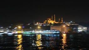 Istanbul. the Galata Bridge. night. October 17, 2017. Turkish, evening, galata, landmark urban water tourism restaurant asia europe stock footage