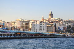 Istanbul Galata bridge and -tower Stock Photo