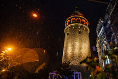 Istanbul, Galata Tower. the architecture type in the rain. Nice bokeh. royalty free stock images