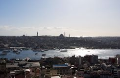 Istanbul from Galata Tower, the panorama from the Royalty Free Stock Photos