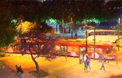 Istanbul gata på natten Arkivbild