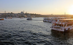 Istanbul Golden Horn Sunset Royalty Free Stock Photos
