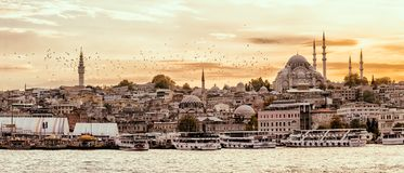 Istanbul Golden Horn at sunset Stock Photography