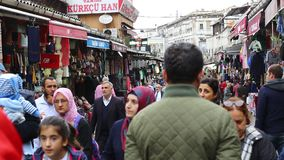 Istanbul Grand Bazaar. ISTANBUL, TURKEY - 8 OCTOBER, 2015: The streets of the old Grand Bazaar with stalls and people in Istanbul stock video