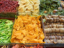 Istanbul grand bazaar various dried fruits, spices, figs, apples, oranges Royalty Free Stock Photos