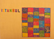 Istanbul graphic on wall. Colourful Istanbul graphic on wall Stock Photography