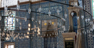 Istanbul, great chandelier ,Rustem Pasha Mosque stock photography