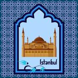 Istanbul greeting card template with hagia sophia in the arch style blue window. Isolated on white background. Cartoon vector illustration in flat style Royalty Free Stock Photo