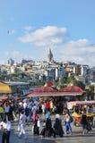 Istanbul guld- horn- fisksmörgås royaltyfri bild