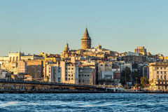 Istanbul guld- horn, Galata Royaltyfri Fotografi