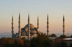 Istanbul- Hagia Sophia at Dusk. Looking over the treetops towards historic Hagia Sophia and the Straits of Bosphorus in Istanbul, Turkey Stock Image