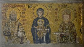 Istanbul, Hagia Sophia. Mosaic depicting the Virgin Mary with Jesus in her arms, Emperor John II and Empress Irene royalty free stock images