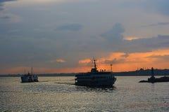 Istanbul halssolnedgång Arkivbild