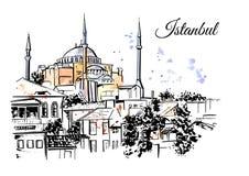 Istanbul hand dragen illustration Royaltyfri Fotografi