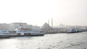 Istanbul haydarpasa harbour ferry on water stock video