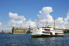 Istanbul, historic Haydarpasa train station and ferry under whit Stock Image