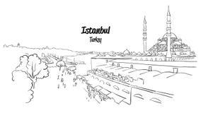 Istanbul Historic Market Skyline Panorama, Royalty Free Stock Images