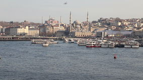 Istanbul historical peninsula view from Golden Horn with Unkapani Bridge stock video