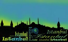 Istanbul huvudstadssolnedgång stock illustrationer