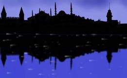 Istanbul huvudstadssolnedgång royaltyfri illustrationer