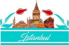 Istanbul-Ikonen- und -formvektorillustration stock abbildung