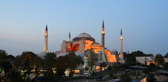 Istanbul. Illuminated Hagia Sophia at twilight Royalty Free Stock Images