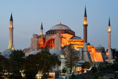 Istanbul. Illuminated Hagia Sophia at twilight Royalty Free Stock Photos