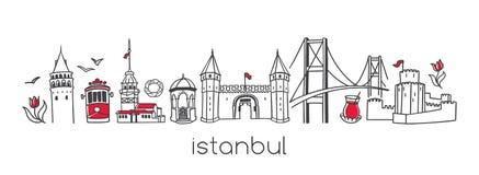 Istanbul Illustration tirée par la main de vecteur des points de repère turcs célèbres et des symboles illustration stock