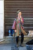 Istanbul, Istiklal Street / Turkey 9.5.2019: Street Musician Singing in the Istiklal Street royalty free stock images