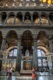 ISTANBUL - 10 JULI 2015: inom basilikan av Hagia Sophia Arkivbilder