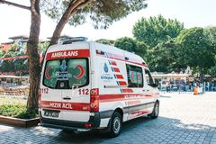 Istanbul, July 15, 2017: An ambulance on the city street in Sultanahmet Square. Emergency help. Ambulance service 112. An ambulance on the city street in Stock Image
