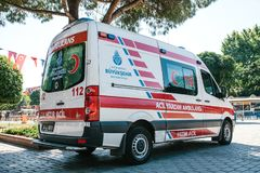 Istanbul, July 15, 2017: An ambulance on the city street in Sultanahmet Square. Emergency help. Ambulance service 112. An ambulance on the city street in Stock Photo