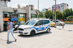 Istanbul, July 11, 2017: A police car on the street in the Aksaray area in Istanbul, Turkey. Protection of public order Stock Image