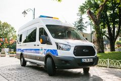 Istanbul, July 15, 2017: police car in Sultanahmet Square in Istanbul. Strengthening of security measures during the. High tourist season Royalty Free Stock Images