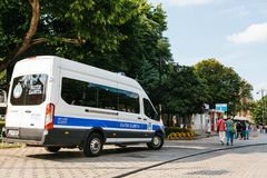 Istanbul, July 15, 2017: police car in Sultanahmet Square in Istanbul. Strengthening of security measures during the. High tourist season Stock Images