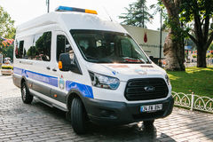Istanbul, July 15, 2017: police car in Sultanahmet Square in Istanbul. Strengthening of security measures during the. High tourist season Royalty Free Stock Image