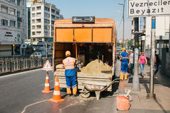 Istanbul, July 11, 2017: Road worker. Road cone on the road. Road sign. Road works on the streets of Istanbul in Turkey Stock Image