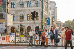 Istanbul, June 15, 2017: Many people are standing at a traffic light and waiting for a green traffic light signal to Royalty Free Stock Photography