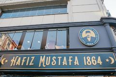 Istanbul, June 15, 2017: The sign of the most popular traditional oriental sweetshop in Turkey is Hafiz Mustafa 1864 royalty free stock image